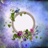 Pagina con i fiori e un uccello su un fondo d'annata Fotografia Stock