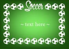 Pagina con i palloni da calcio Fotografia Stock