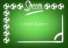 Pagina con i palloni da calcio e la marcatura Fotografia Stock Libera da Diritti