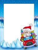 Pagina con il Babbo Natale che conduce automobile Fotografia Stock Libera da Diritti