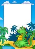Pagina con il dinosauro di seduta sveglio Fotografie Stock