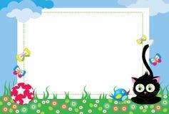 Pagina con il gatto e l'uccello Fotografia Stock Libera da Diritti