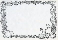 Pagina con il granchio, i pesci e le alghe royalty illustrazione gratis