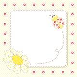 Pagina con il ladybug e la camomilla Immagini Stock