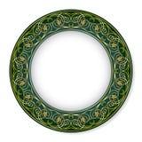 Pagina con il modello dell'oro su un fondo verde Fotografia Stock