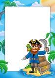 Pagina con il pirata sulla spiaggia Immagini Stock