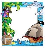 Pagina con il tema 1 del pirata e del mare Immagine Stock Libera da Diritti