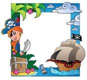 Pagina con il tema 3 del pirata e del mare Immagini Stock