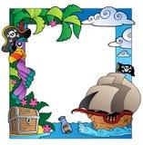 Pagina con il tema 4 del pirata e del mare Fotografia Stock Libera da Diritti