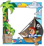 Pagina con il tema 5 del pirata e del mare royalty illustrazione gratis