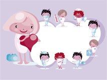Pagina con l'emblema medico del dottore Nurse dell'icona Immagini Stock Libere da Diritti