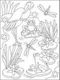 Pagina con l'illustrazione in bianco e nero della palude per colorare Immagine Stock