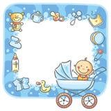 Pagina con le cose del neonato Fotografia Stock Libera da Diritti