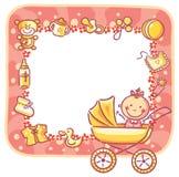 Pagina con le cose della neonata Immagini Stock