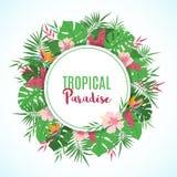 Pagina con le foglie ed i fiori tropicali esotici illustrazione di stock
