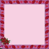 Pagina con le rose del biglietto di S. Valentino Illustrazione di Stock