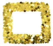 Pagina con le stelle d'oro della stagnola Confine sparso delle stelle Fotografia Stock Libera da Diritti
