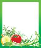 Pagina con le verdure e le erbe Fotografia Stock Libera da Diritti