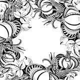 Pagina con le zucche, le foglie, le mele ed il cereale illustrazione di stock