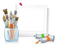 Pagina con un insieme delle spazzole, pitture Fotografia Stock