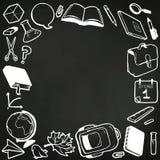 Pagina con vari il gesso assorbito della scuola elementi Immagine Stock Libera da Diritti