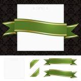 Pagina con verde ed il nastro dell'oro Fotografia Stock Libera da Diritti