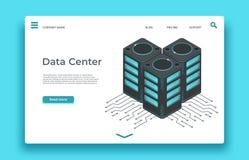 Pagina d'atterraggio del centro dati Progettazione isometrica di vettore dei server royalty illustrazione gratis