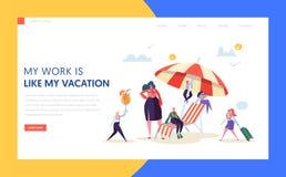 Pagina d'atterraggio di affari di vacanza felice dei caratteri Responsabile di ufficio Relax con il cocktail tropicale sul centro illustrazione di stock