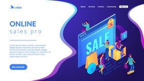 Pagina d'atterraggio isometrica 3D concetto online di vendite di pro illustrazione di stock