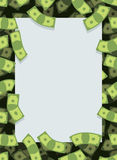 Pagina da soldi Volata di molti dollari Spazio per testo Contanti gr Immagini Stock