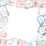 Pagina dai timbri di visto del passaporto Fotografia Stock