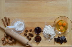 Pagina degli ingredienti di cottura fotografie stock