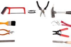Pagina degli strumenti e dell'hardware tenuti in mano Fotografia Stock