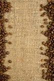 Pagina dei chicchi di caffè su un licenziamento Fotografia Stock