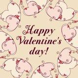 Pagina dei cuori per progettazione Messaggio di giorno di biglietti di S. Valentino illustrazione vettoriale