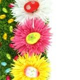 Pagina dei fiori e delle uova di Pasqua Fotografia Stock