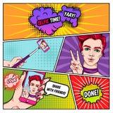 Pagina dei fumetti di Selfie illustrazione di stock