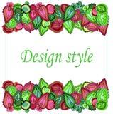 Pagina dei modelli simmetrici di verde e delle foglie di Borgogna royalty illustrazione gratis