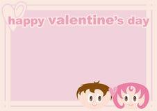 Pagina del biglietto di S. Valentino con le coppie amorose Immagini Stock Libere da Diritti