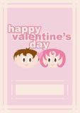 Pagina del biglietto di S. Valentino con le coppie e la modifica amorose Fotografia Stock Libera da Diritti
