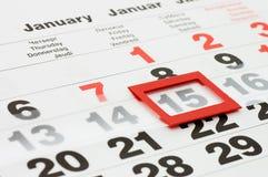 Pagina del calendario che mostra data di oggi Immagini Stock Libere da Diritti