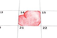 Pagina del calendario con i cuori Fotografia Stock Libera da Diritti