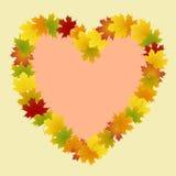 Pagina del cuore delle foglie di acero Fotografia Stock Libera da Diritti