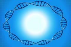Pagina del DNA delle cellule nel fondo blu Fotografia Stock