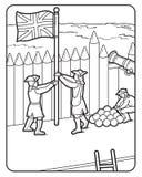 Pagina del libro da colorare di vettore, bandiera di Britannici, soldati, Fotografia Stock Libera da Diritti
