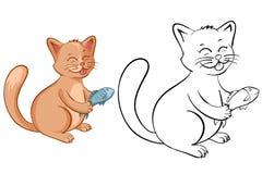 Pagina del libro da colorare per i bambini con il gatto divertente del fumetto con il pesce Vettore Immagini Stock