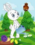 Pagina del libro da colorare per i bambini in età prescolare con il coniglietto variopinto di schizzo e del fondo per colorare illustrazione vettoriale