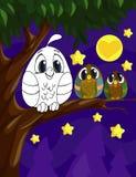 Pagina del libro da colorare per i bambini in età prescolare con il gufo variopinto di schizzo e del fondo per colorare royalty illustrazione gratis