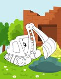 Pagina del libro da colorare per i bambini in età prescolare con l'automobile funzionante variopinta del bulldoser di schizzo e d illustrazione di stock