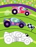 Pagina del libro da colorare per i bambini in età prescolare con l'automobile sportiva variopinta di schizzo e del fondo per colo illustrazione vettoriale